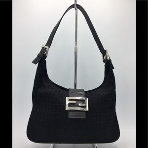 Fendi Black Zucca Canvas Leather Shoulder Bag